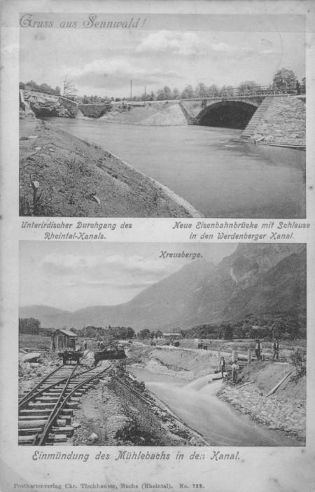 Postkarte Kanalbau abgeschickt 1911