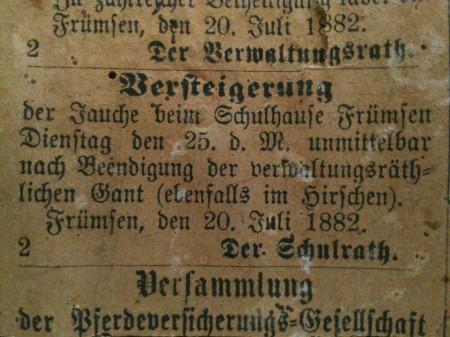Versteigerung Gülle 1882