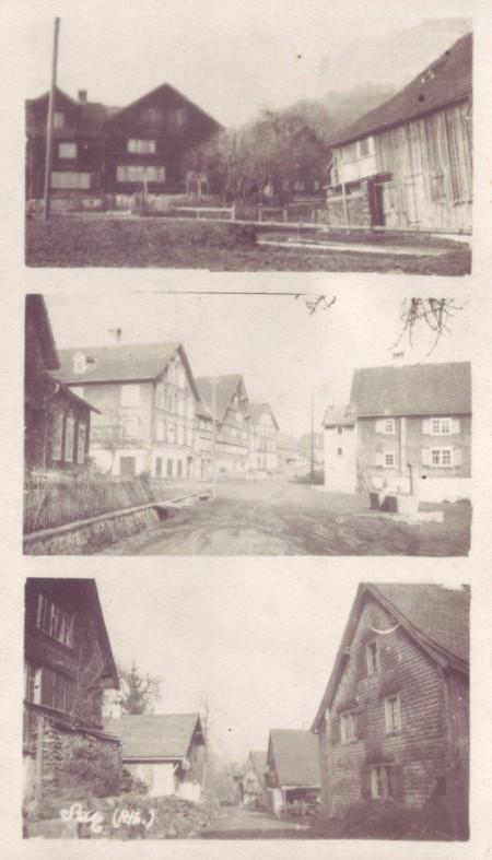Sax. Oben:Rütigass; Mitte Schulhaus; Unten: Hinterdorf