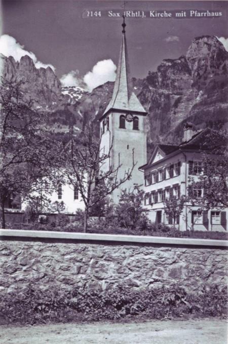 Sax Kirche und Pfarrhaus undatiert