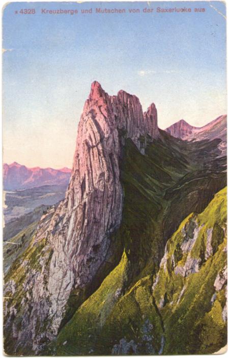 Die Kreuzberge mit Mutschen von der Saxer Lücke um das Jahr 1910. Unbekannter Fotograf. Edition Photoglob, Zürich, Nr. 4328