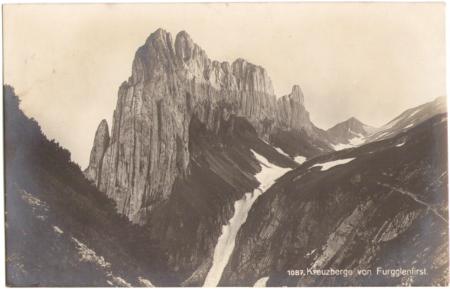 Die Kreuzberge vom Furgglenfirst um das Jahr 1910. Fotograf: Max Frei (†1914), St. Gallen, Nr. 1087