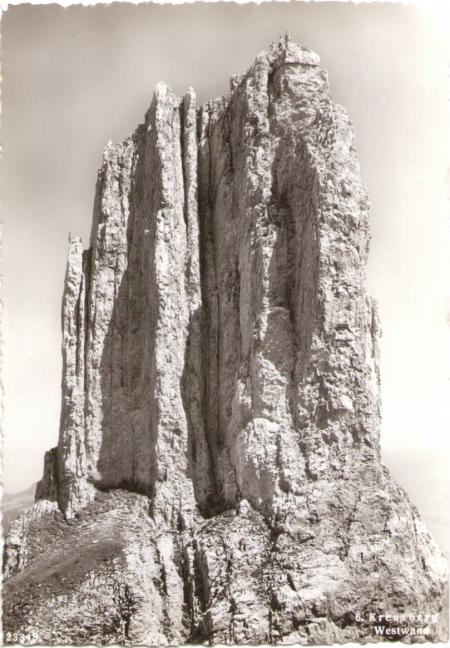 Die Westwand des sechsten Kreuzberges um das Jahr 1940. Fotograf: Hans Gross jun., St. Gallen, Nr. 23348