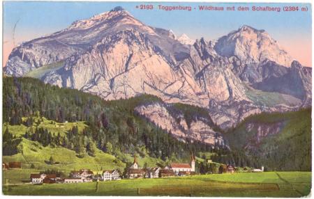Poststempel vom 16. August 1915, nachkolorierte Ansichtskarte, ohne Angabe des Photographen, Edition Photoglob, Zürich, Nr. 2193, um das Jahr 1910 entstanden