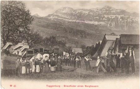 Brautfuder eines Bergbauern im Toggenburg um 1900. Unbekannter Fotograf und Verlag