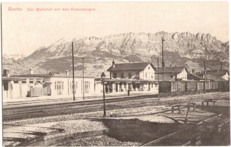 Buchs Bahnhof, im Hintergrund die Kreuzberge, um das Jahr 1910
