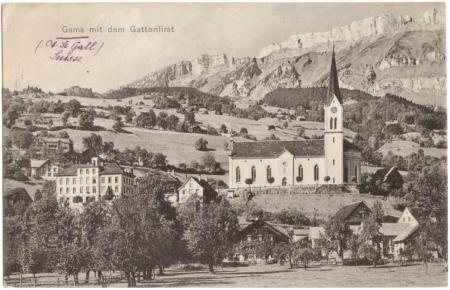 Gams mit dem Gätterifirst im Hintergrund um das Jahr 1910, Aufnahme und Verlag von Christian Tischhauser, Buchs, Nr. 987