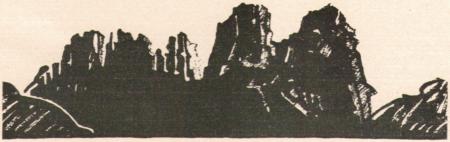 Holzschnitt von den Kreuzbergen von Hans Wagner (1885-1949) um das Jahr 1920