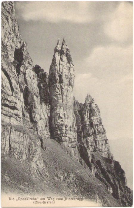 Arnold Heim (1882-1965), Sohn des berühmten Geologen Albert Heim, fertigte zwischen 1905 und 1920 einige sehr bemerkenswerte Aufnahmen von den Churfirsten an (darunter auch ein Bild von der Rosskirche