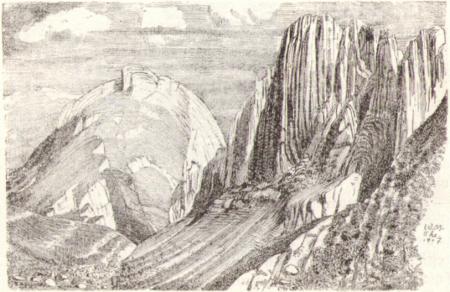 Zeichnung von den Kreuzbergen von Willi Münch-Khé (1885 - 1961) aus dem Jahr 1907