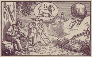 Monatsbild Juli von SB im Appenzeller Kalender 1889