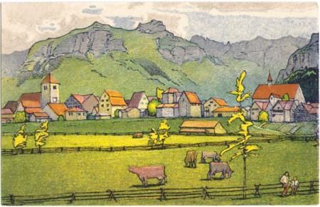 Appenzell mit Kamor und Hohen Kasten um 1910