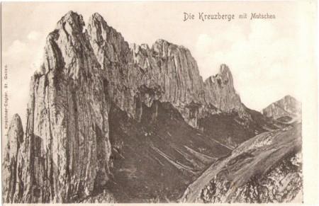 Die Kreuzberge mit dem Mutschen um das Jahr 1900. Aufnahme und Verlag von L. Kirschner-Engler, St. Gallen