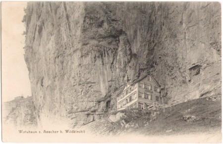 Das Wirtshaus zum Aescher beim Wildkirchli um 1900, Aufnahme und Verlag der Gebrüder Wehrli, Kilchberg, Zürich, Nr. 12847